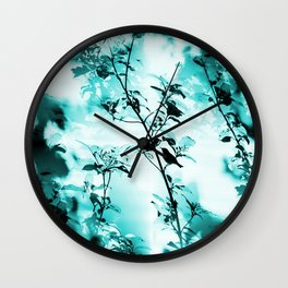 Silhouette of songbird on a branch in turquoise variation #decor #society6 Wall Clock
