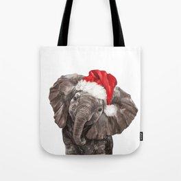 Christmas Baby Elephant Tote Bag