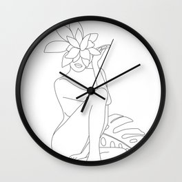 Minimal Line Art Woman with Tropical Leaves Wall Clock