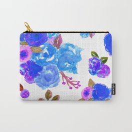Watercolor Bouquet Floral in White + Blue Carry-All Pouch