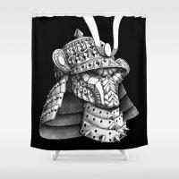 samurai Shower Curtains featuring Samurai Helm by BIOWORKZ