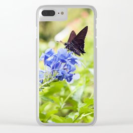 Butterfly on a Purple Flower Photography Print Clear iPhone Case