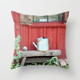 A Little Red Garden Shed Throw Pillow