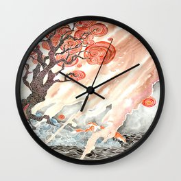 Foxes at Sunset Wall Clock