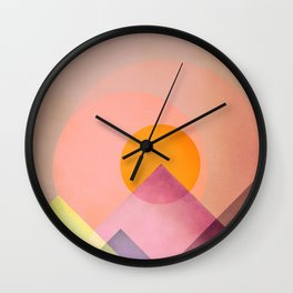Sun in the mountains Wall Clock