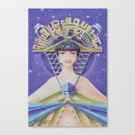 """""""Portrait with golden fan hat"""" Canvas Print"""