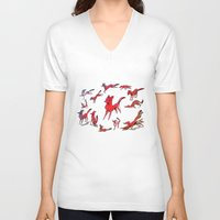 foxes V-neck T-shirts featuring Foxes by Kit Seaton