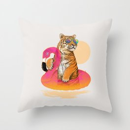 Chillin (Flamingo Tiger) Throw Pillow