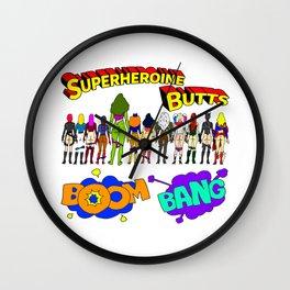 Superheroine Butts BOOM BANG Wall Clock