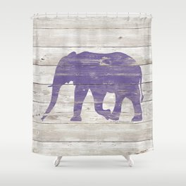 Violet Elephant on White Wood A222c Shower Curtain