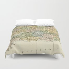 England and Wales Vintage Map Duvet Cover