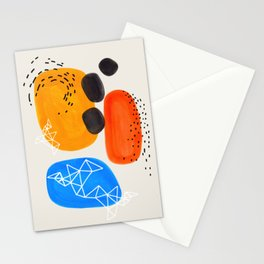 Fun Mid Century Modern Abstract Minimalist Yellow Orange Blue Watercolor Bubbles Stationery Cards