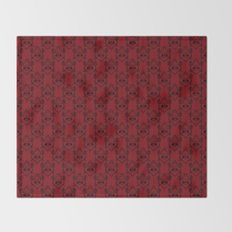 Halloween Damask Red Throw Blanket