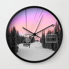 Ski Lift Sunset Shot on iPhone 4 Wall Clock