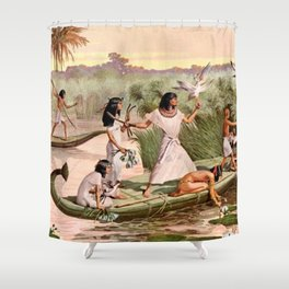 """Classical Masterpiece """"Egyptian Fowlers in Boat on the Nile"""" by Herbert Herget Shower Curtain"""