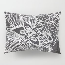 White hand drawn floral lace black chalkboard Pillow Sham