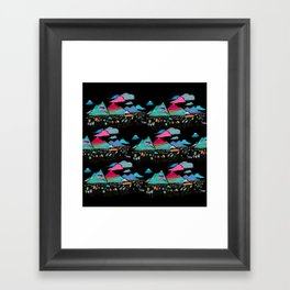 candy mountains over lollipop trees Framed Art Print