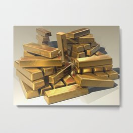 Gold Bars Metal Print