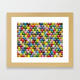 colorful crowd of owls Framed Art Print