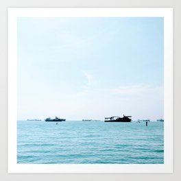 Boats and a Blue Sky on the Singapore Strait Art Print