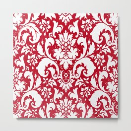 Paisley Damask Red and White Pattern Metal Print