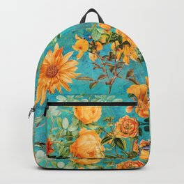 Vintage & Shabby Chic - Blue Botanical Flowers Summer Day  Backpack