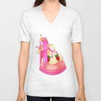 princess bubblegum V-neck T-shirts featuring Princess Bubblegum by Parapoozle