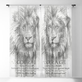 Lion Courage Motivational Quote Watercolor Painting Sheer Curtain