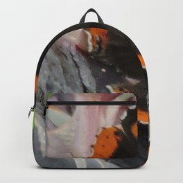Red Admiral on a White Bird of Paradise Bloom Backpack