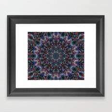 Blue and Red Organic Mandala Meditation Framed Art Print