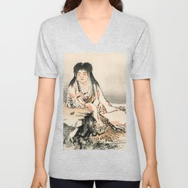 The Calligrapher Traditional Japanese Character Unisex V-Neck