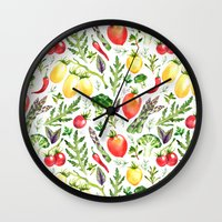 vegetables Wall Clocks featuring Watercolor vegetables by Achtung