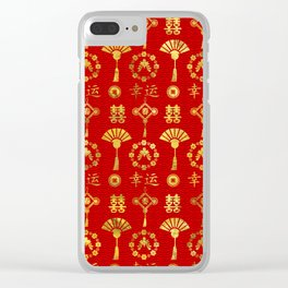 Gold on Red  Lucky Chinese Symbols  Pattern Clear iPhone Case