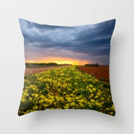 Yellow Flower Road - Path of Wildflowers Lead Into Texas Sunset on Stormy Evening Throw Pillow