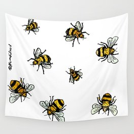 Just Some Beez A - White Wall Tapestry