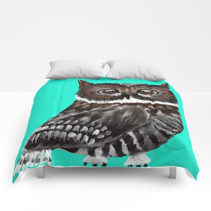 Big Eyed Owl With Aqua Background Comforters