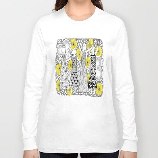 Zentangle Girls - Black and White Illustration Long Sleeve T-shirt