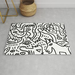 The Boy and The Magic Goat Street Art Black and White Rug