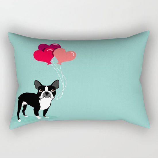 Boston Terrier Valentine heart balloons for pet owners and dog lovers gift for someone they love Rectangular Pillow