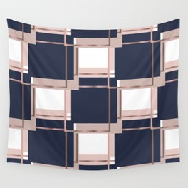 Elegant Blue Square Geometric Patterns Wall Tapestry