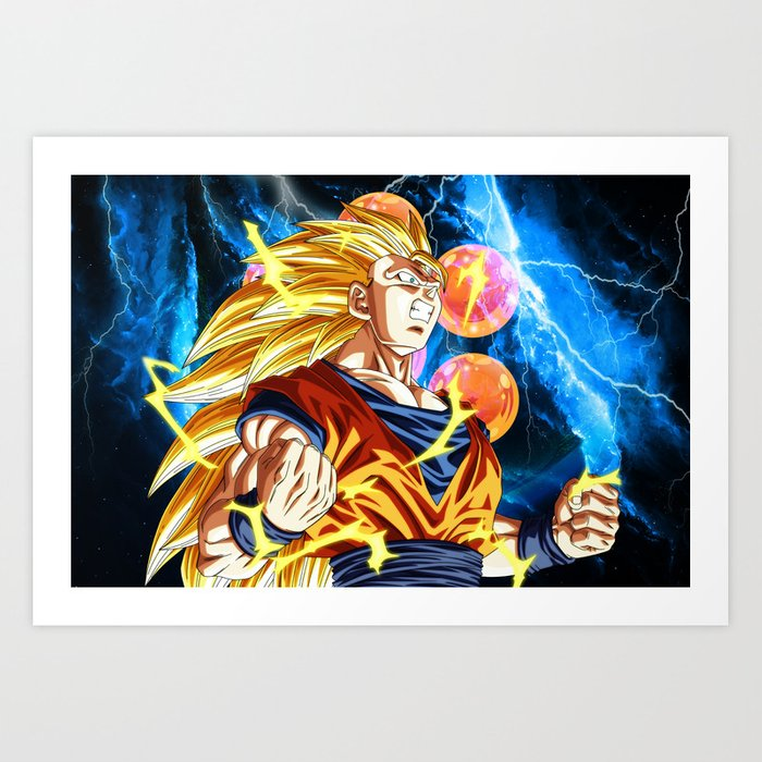 goku super saiyan 3 art print by mrsniffens society6