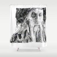 phil jones Shower Curtains featuring Davy Jones by tattooeddragonfly