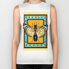 BUTTERFLY WESTERN YELLOW-ORANGE-TURQUOISE INSECT  PATTERNS Biker Tank