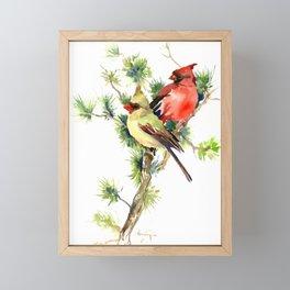 Cardinal Birds on Pine Tree Framed Mini Art Print