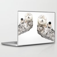 otters Laptop & iPad Skins featuring Sea Otters Watercolor Painting by Triple Studio