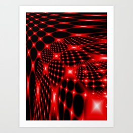 Red glowing net fractal Art Print