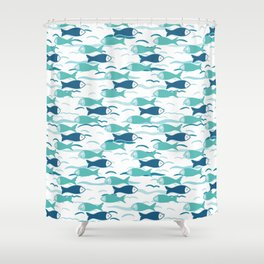Cute shoal of fish swimming in sea water. Shower Curtain