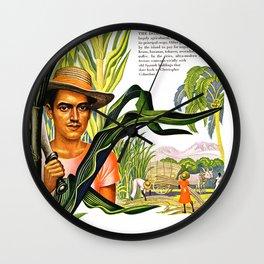 Dominican Republic Caribbean, Cane Sugar, Coffe, Inca Gold, 1940s Travel Poster Wall Clock