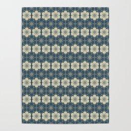 Blue Floral Japanese Pattern Poster