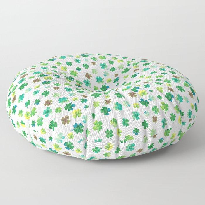 Lucky Watercolor Clovers Floor Pillow